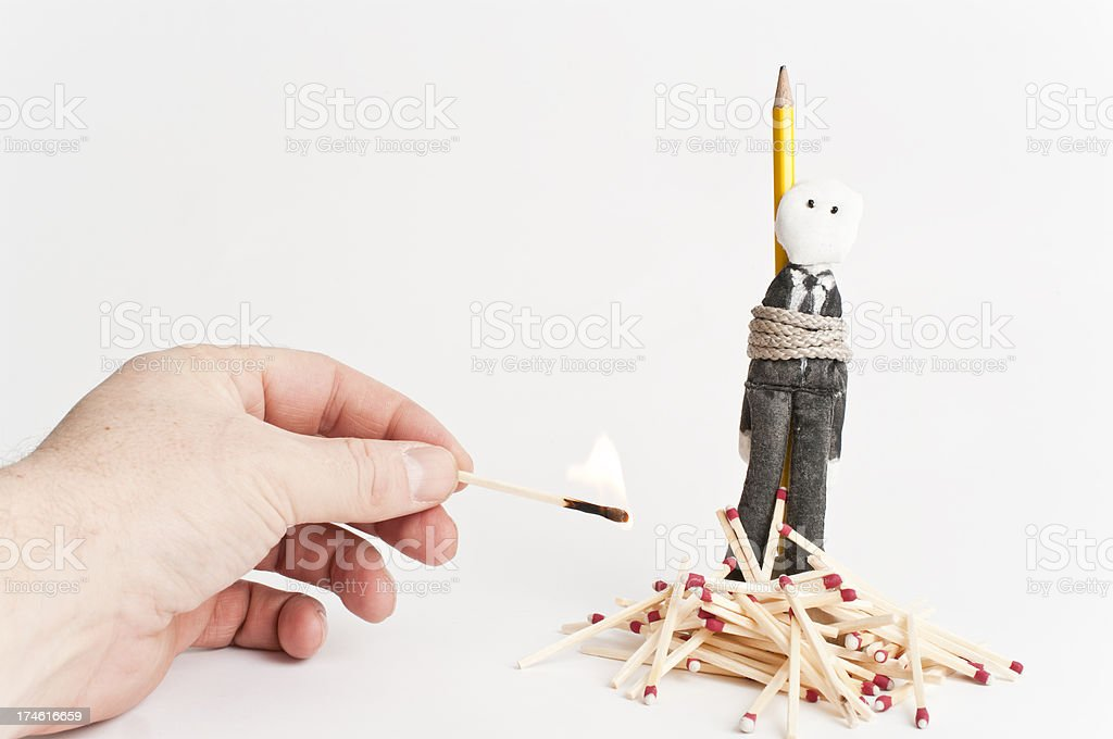 Making The Man pay, voodoo doll style stock photo