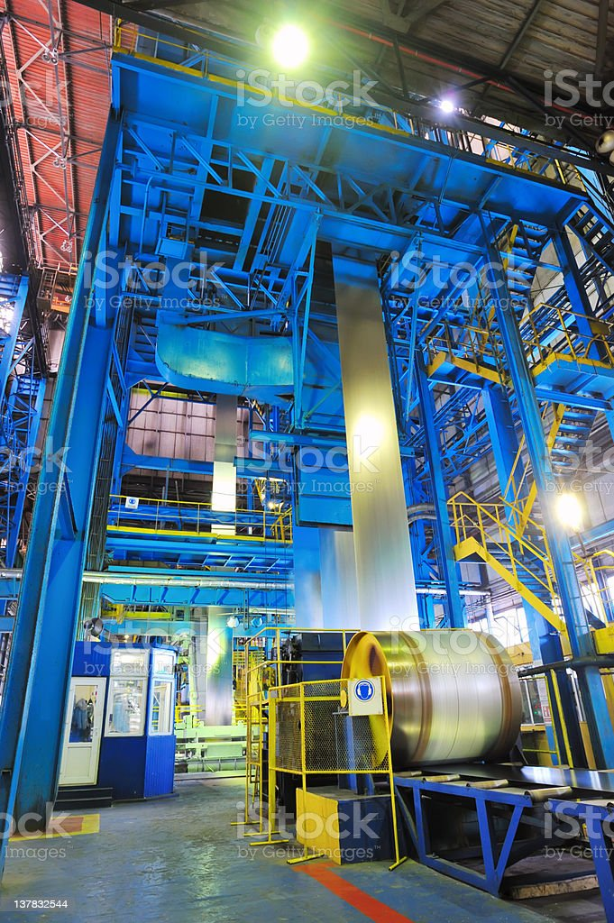 making the zinc rolls of steel sheet stock photo