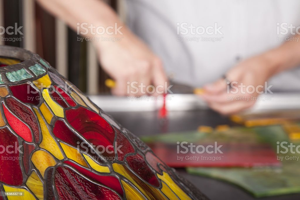 Making tiffany lamps. stock photo