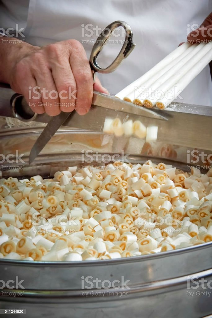 making traditional candies stock photo