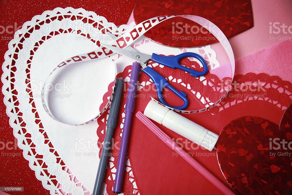 Making Valentines stock photo