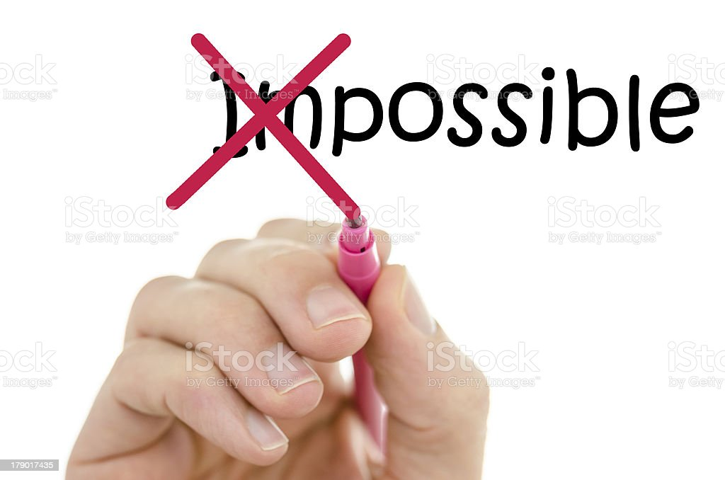Making word impossible possible stock photo