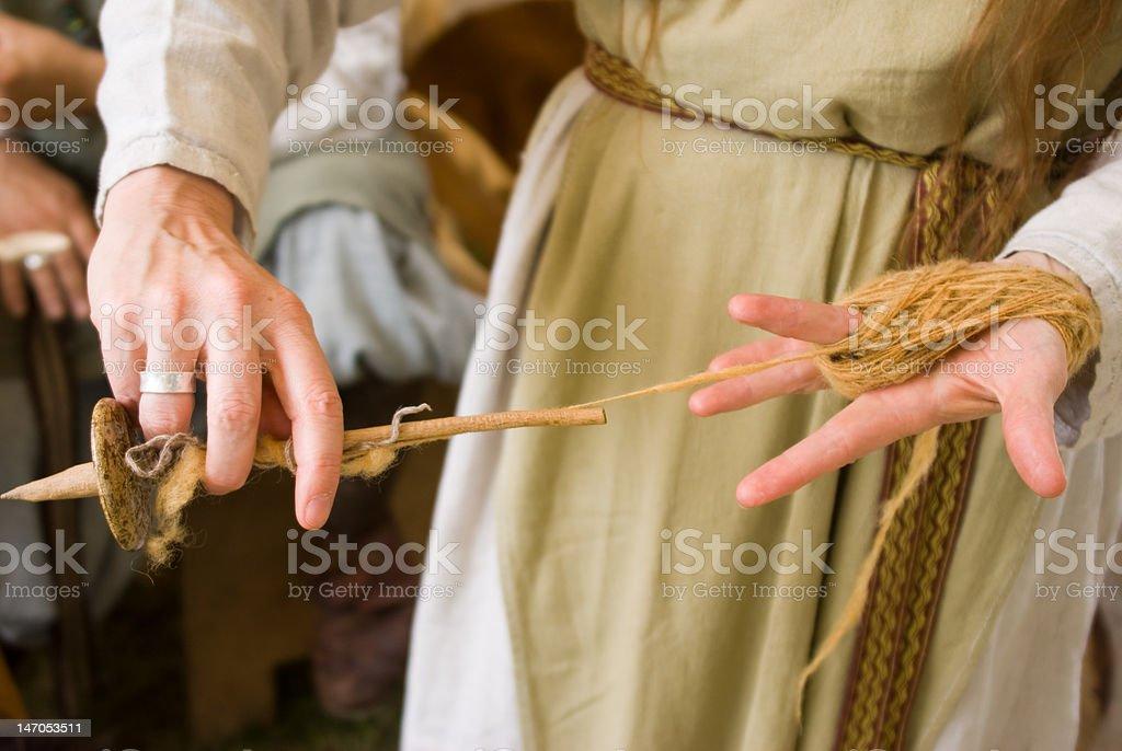 Making yarn by hand stock photo