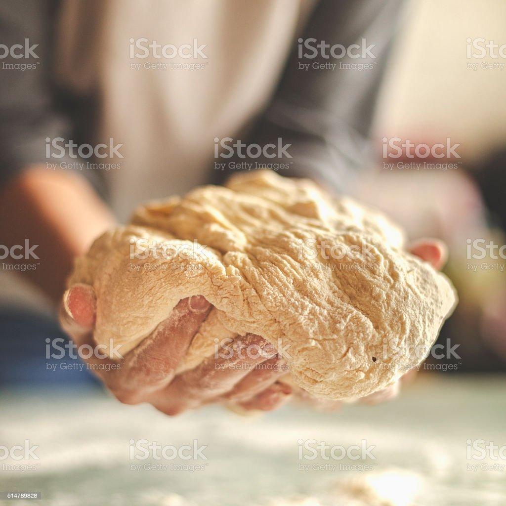 Making yeast dough stock photo