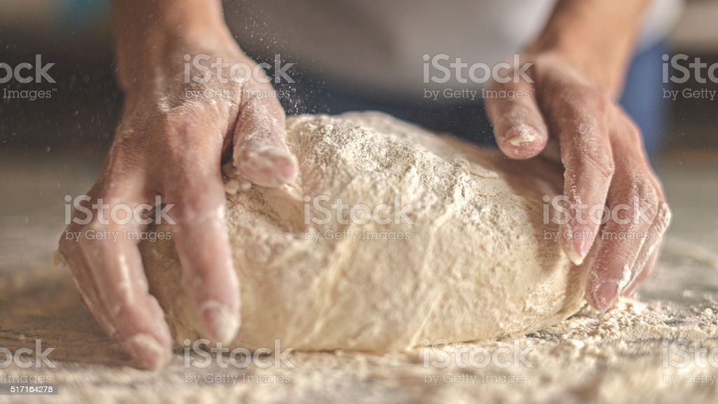 Making yeast dough stock photo