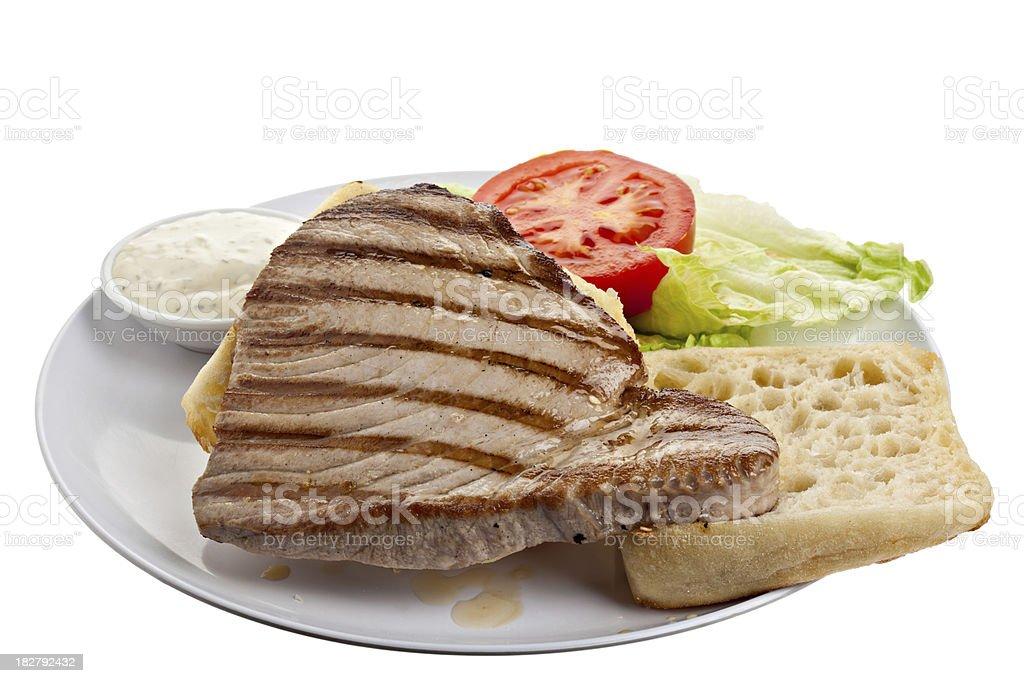 Makings of an Ahi Tuna Steak Sandwich royalty-free stock photo