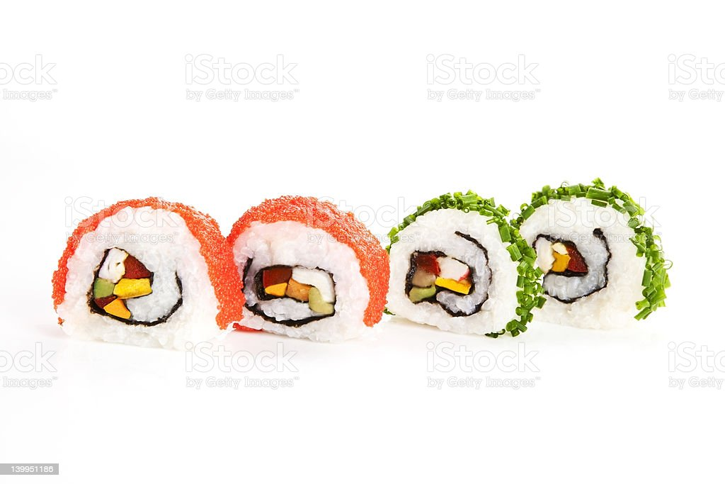 Makizushi. Four sushi rolls isolated on white. royalty-free stock photo