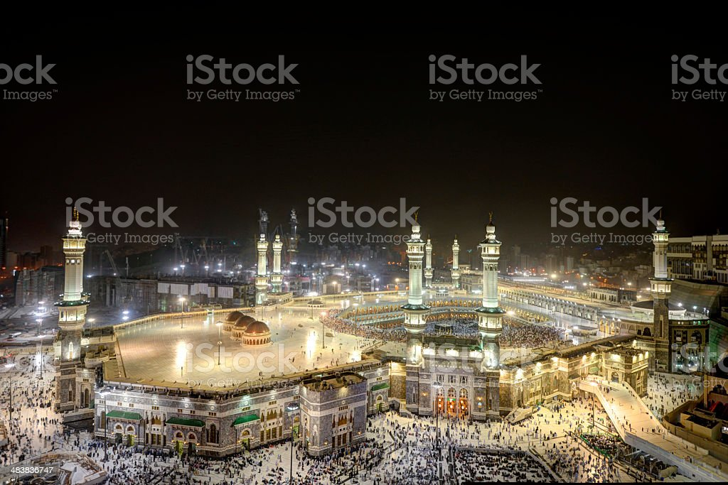 Makkah Kaaba during Hajj at night stock photo