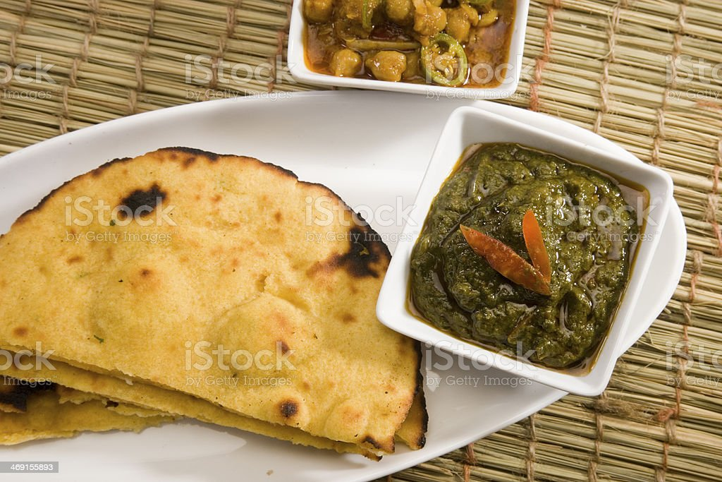 Makki Ki Roti with Channa and Saag stock photo