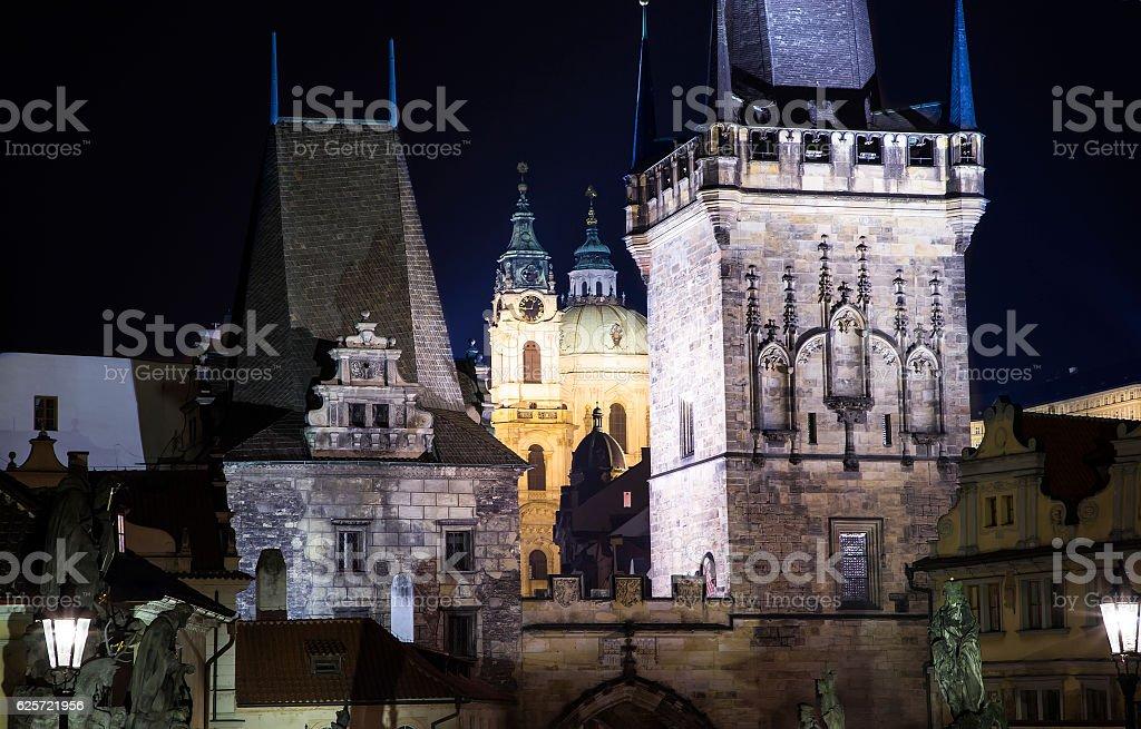 Mala Strana Bridge Tower at Charles Bridge in Prague stock photo