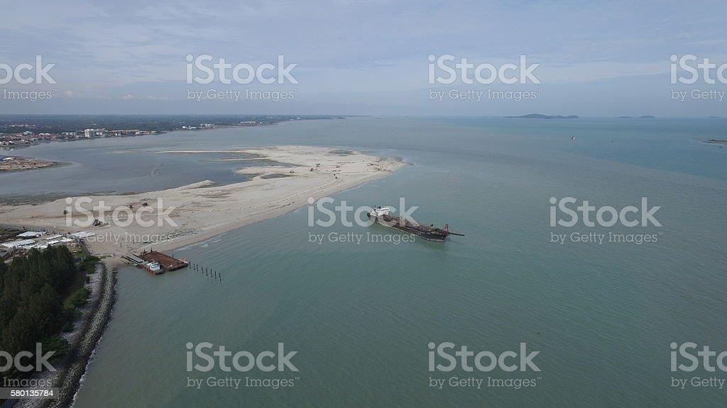 Malacca Coast Land Reclaimation stock photo