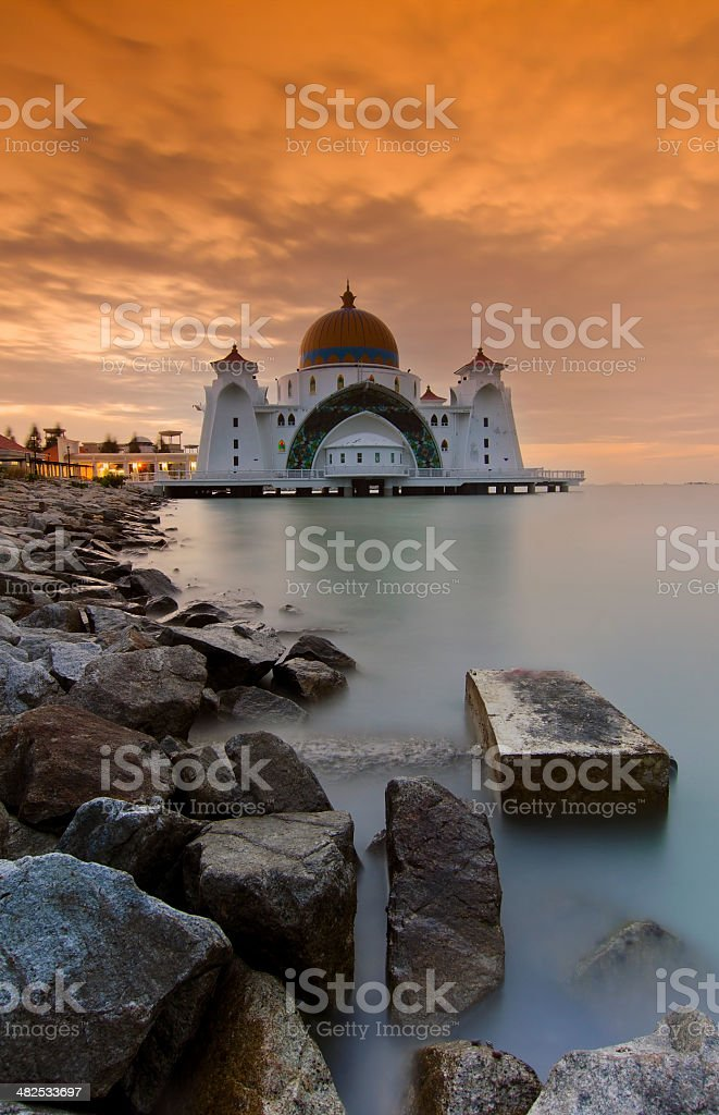 Malacca floating mosque during sunset stock photo