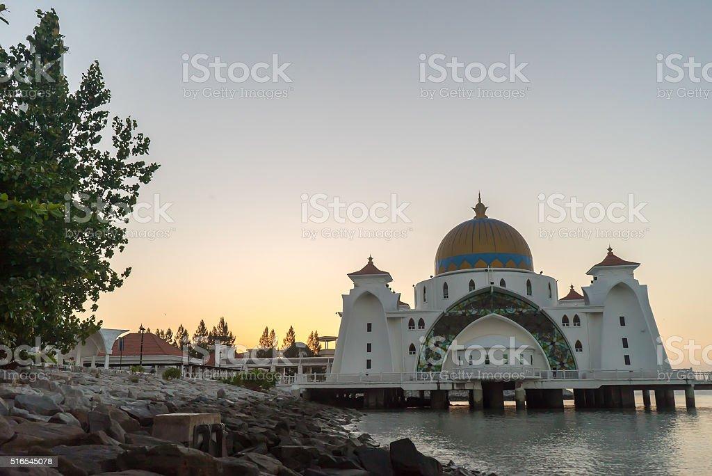 Malacca Straits Floating Mosque During Sunrise stock photo