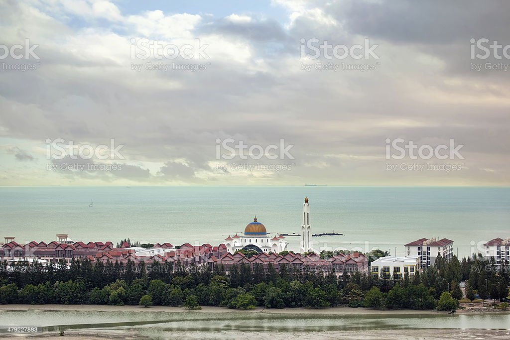 Malacca Straits Mosque Aerial View stock photo