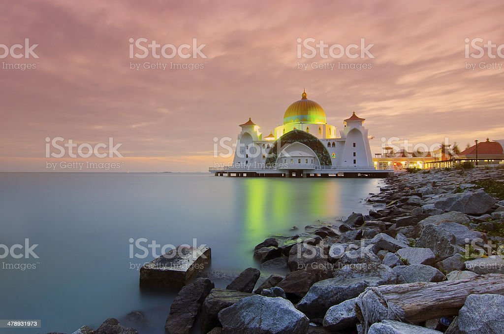 Malacca Straits Mosque is a mosque located on Malacca stock photo