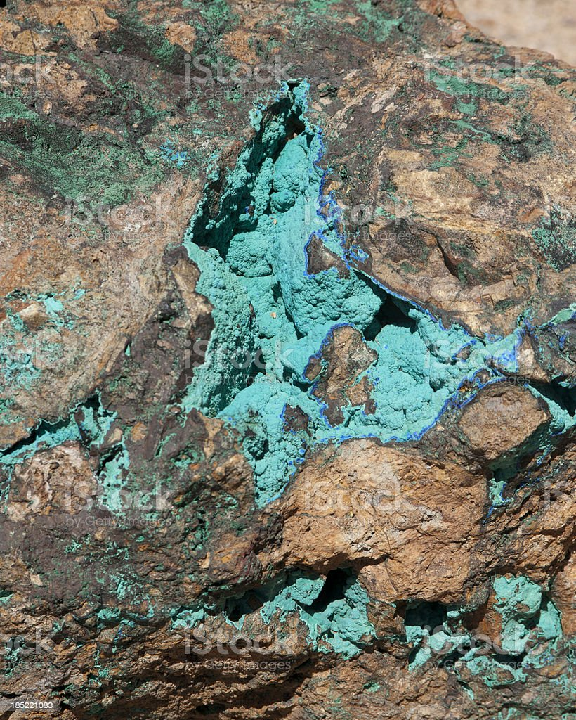 Malachite and Azurite Deposits in a Boulder stock photo