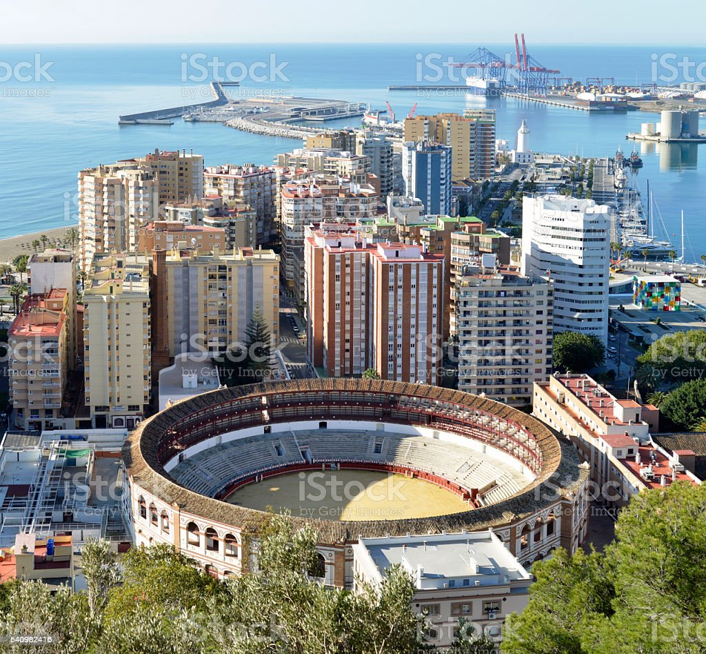 Malaga city and port area. Andalucia Spain. stock photo