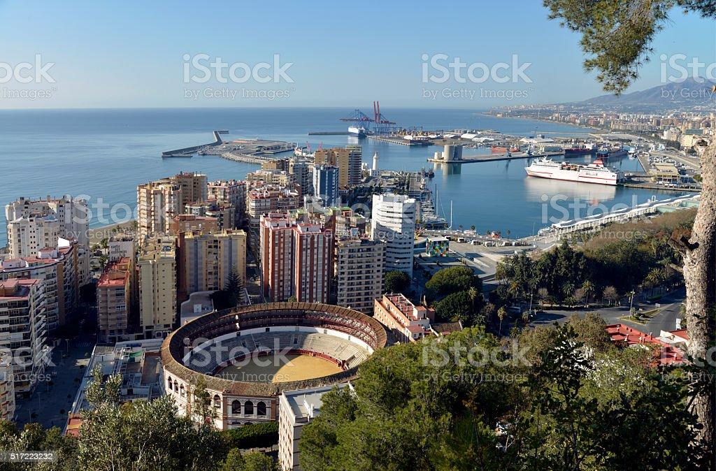 Malaga City and Port area Spain. stock photo