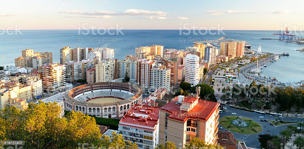 Malaga City and Port area Spain. stock photo