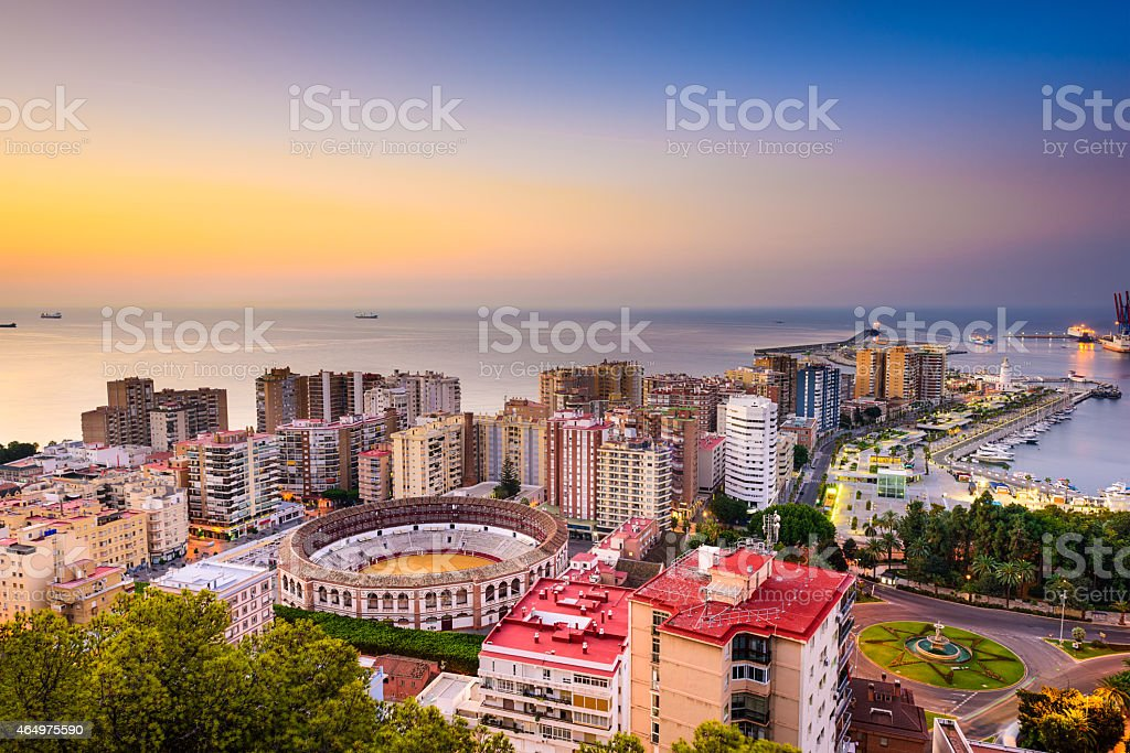 Malaga, Spain Cityscape on the Mediterranean stock photo
