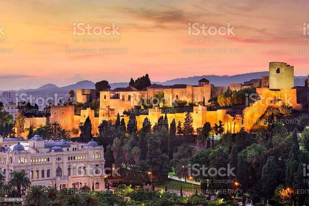 Malaga, Spain Moorish Castle stock photo