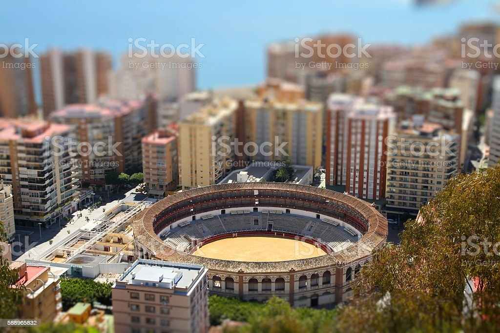 Malaga tilt shift stock photo