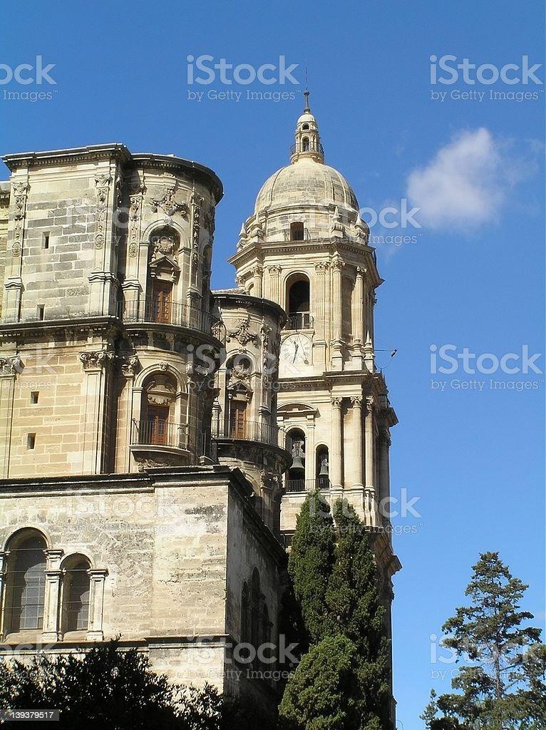 Malaga's cathedral royalty-free stock photo
