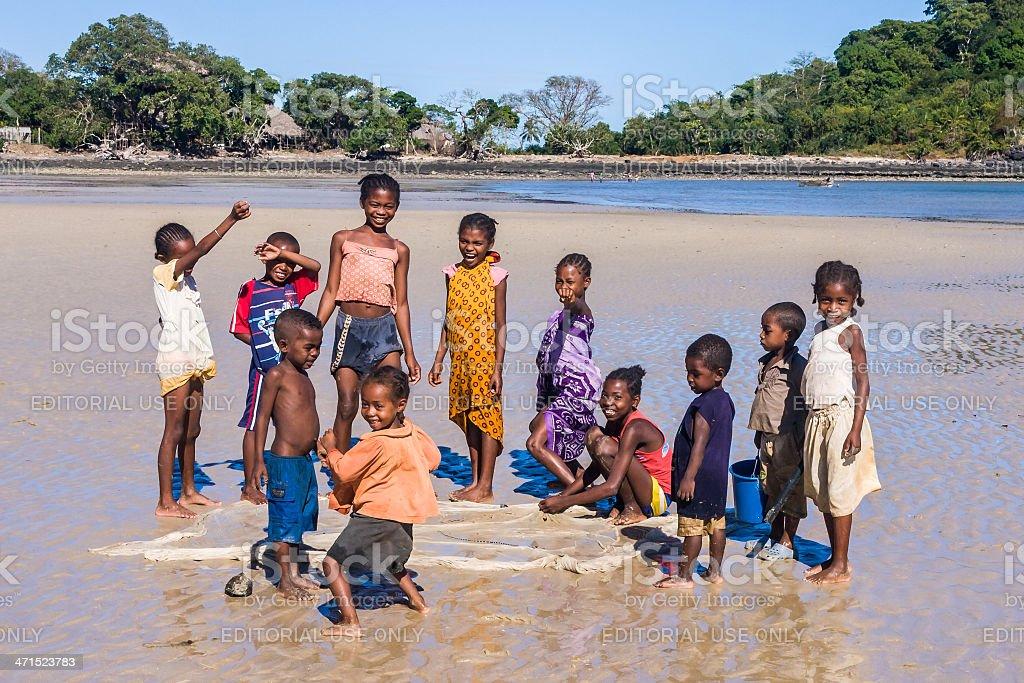 Malagasy children on the beach stock photo