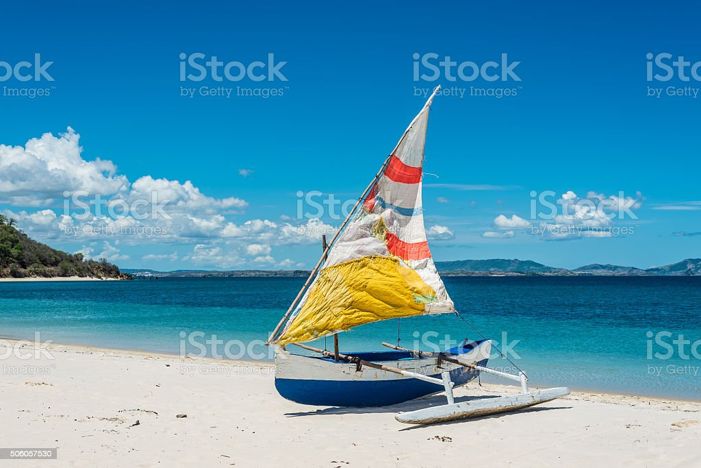 Malagasy outrigger pirogue stock photo