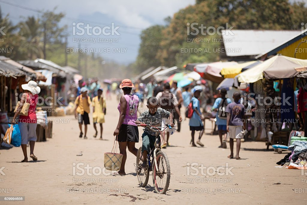 Malagasy peoples on marketplace in Madagascar stock photo
