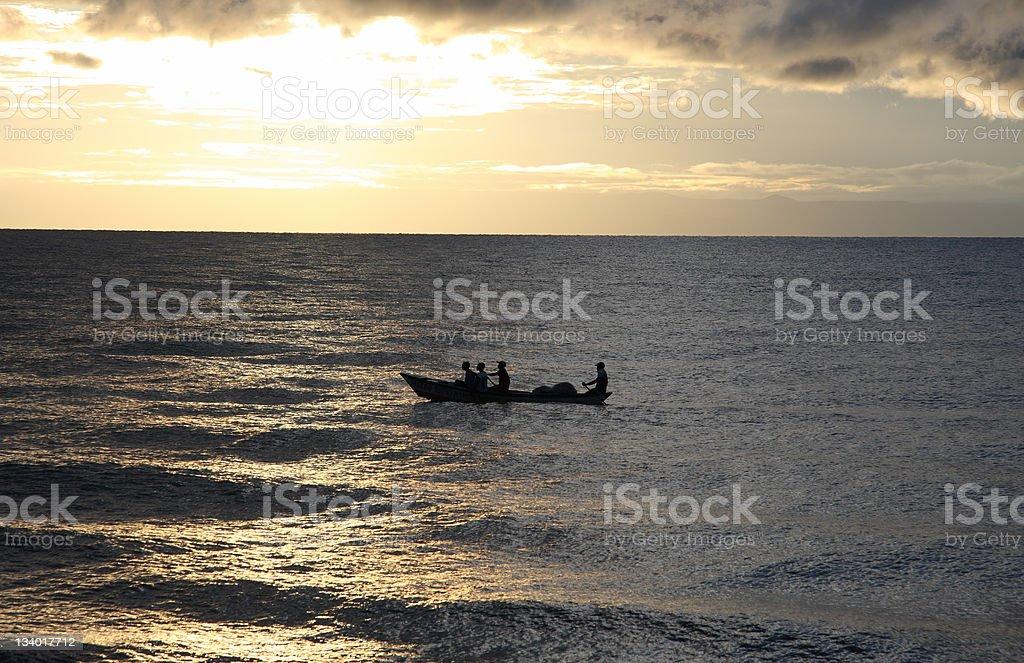 Malawi Fishermen at Dawn royalty-free stock photo