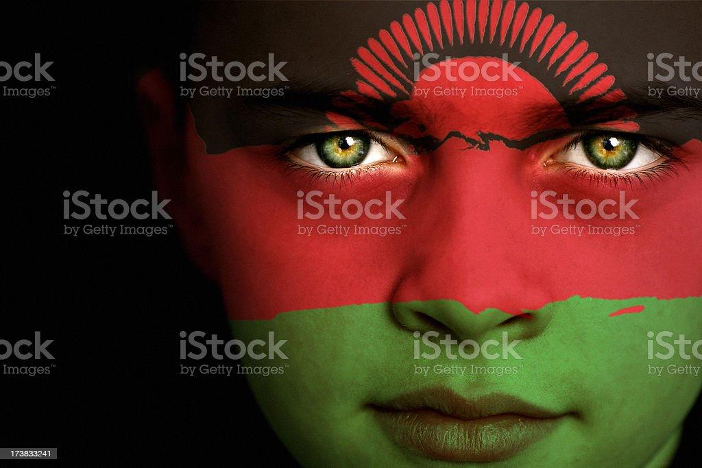 Malawi flag boy stock photo