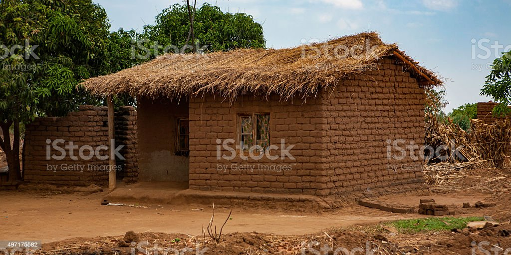 Malawi mud house stock photo