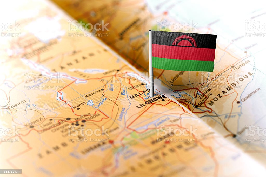 Malawi pinned on the map with flag stock photo