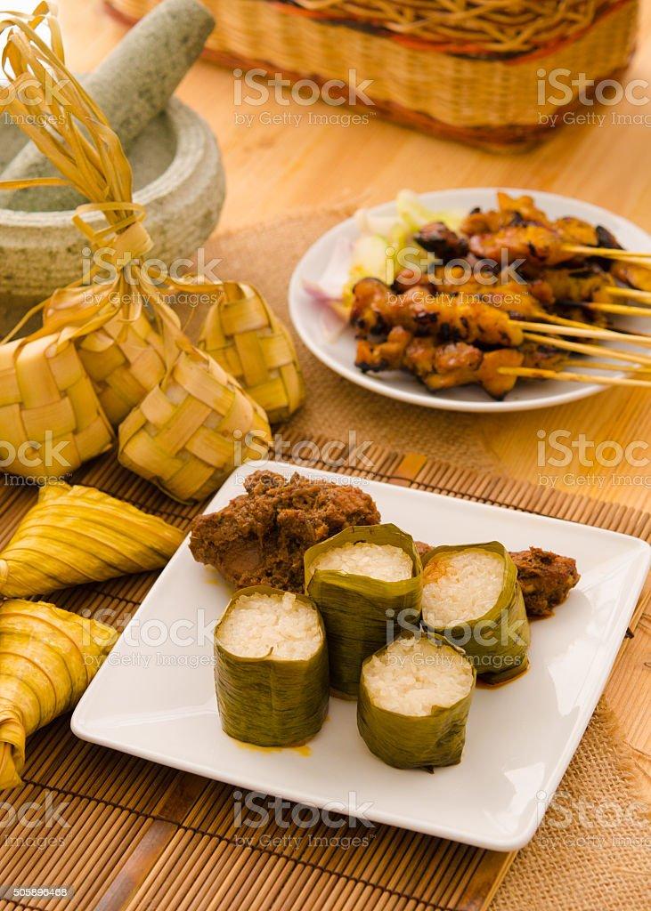 malay hari raya foods lemang ,focus on lemang stock photo