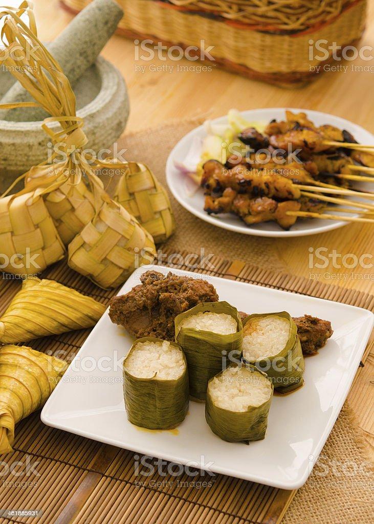 malay hari raya foods lemang stock photo