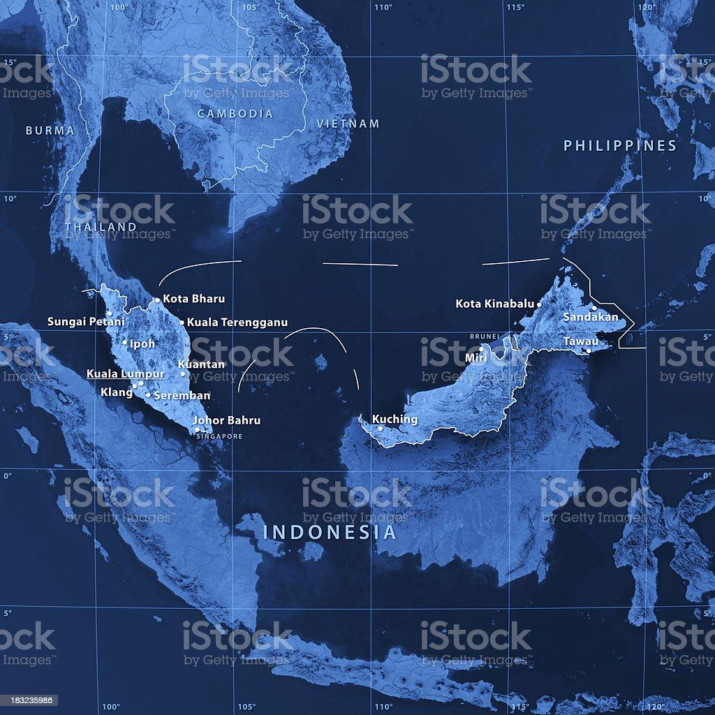 Malaysia Cities Topographic Map stock photo