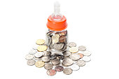 Malaysia Coins in Baby Bottle Conceptual Image