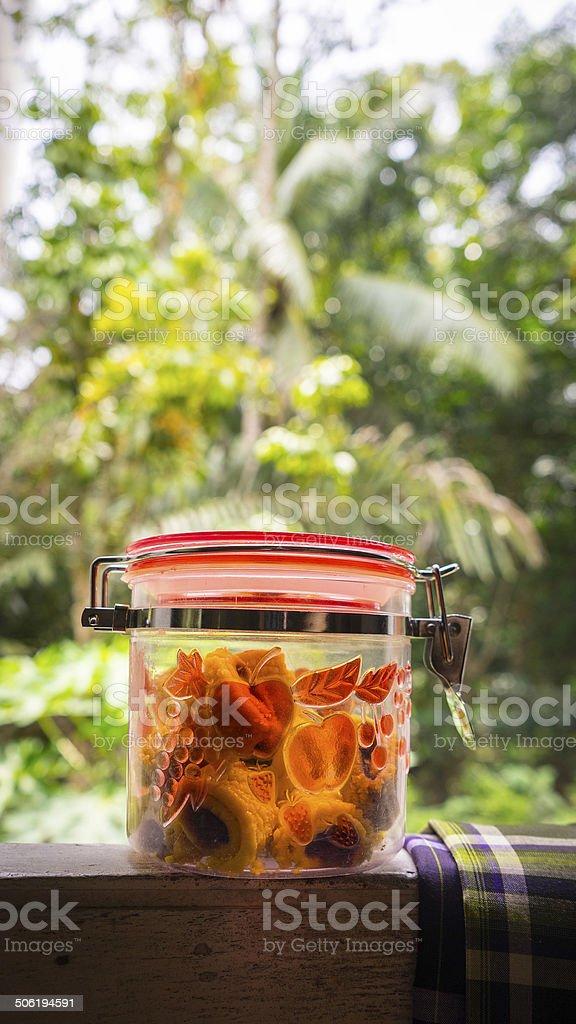 Malaysia Hari Raya festivity cake, pineapple tart in jar stock photo