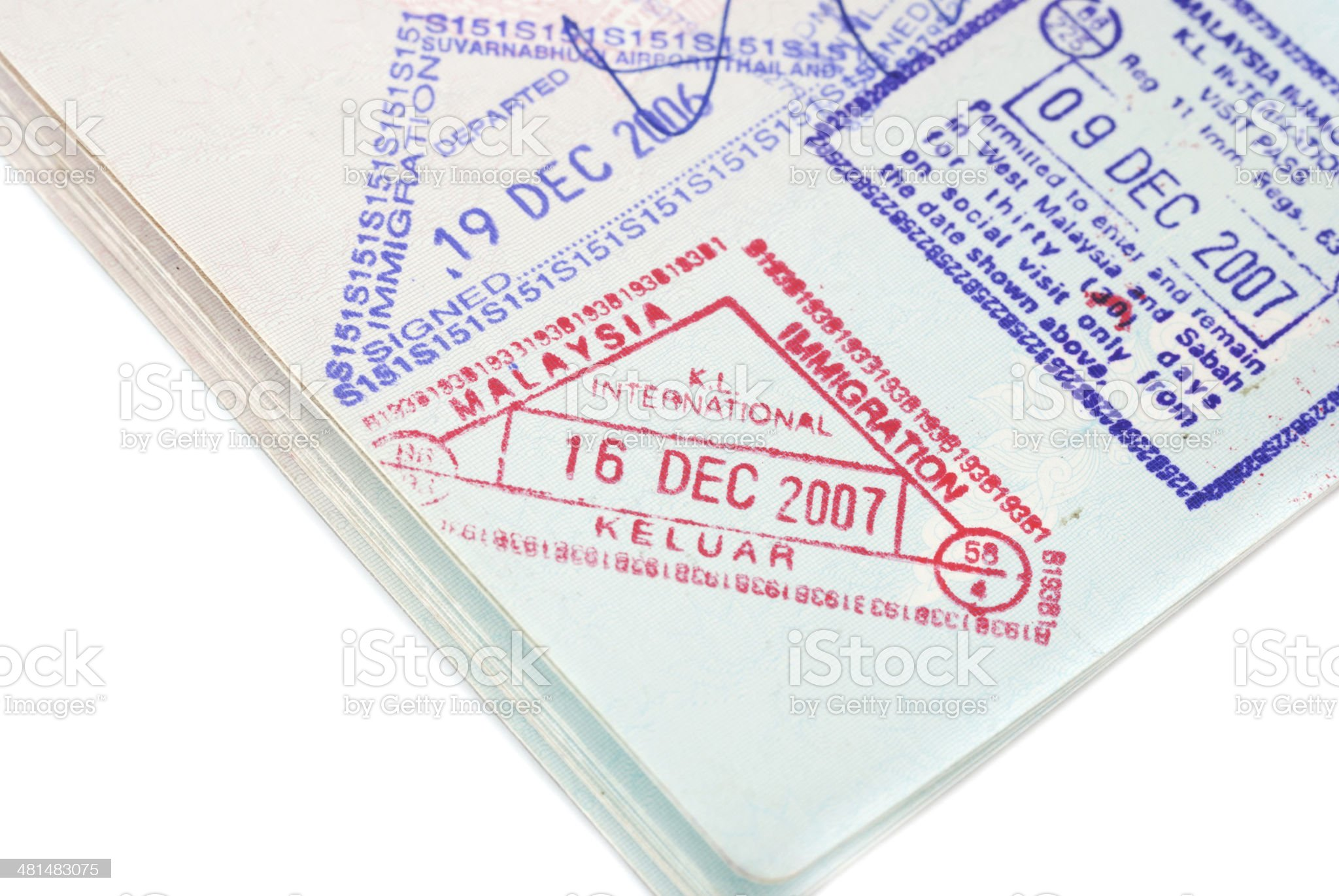 Malaysia passport entry  stamps royalty-free stock photo
