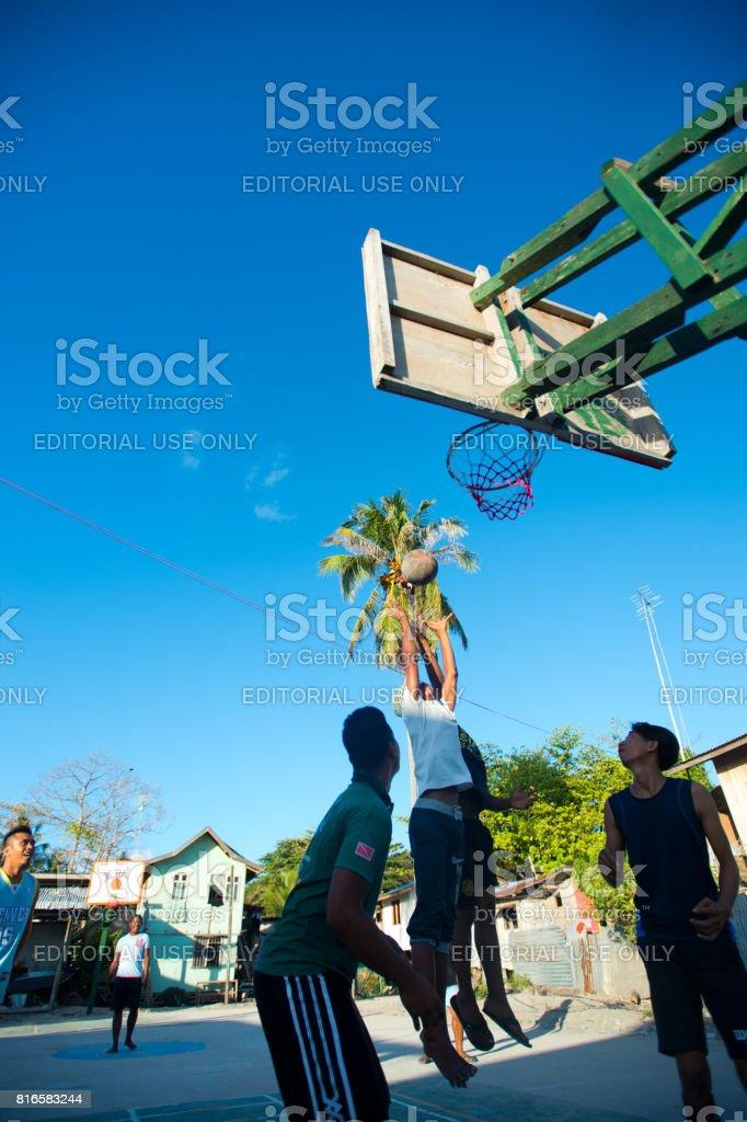 Malaysia Sabah Polo Island Marga Island Haigipisi Village Basketball Team stock photo