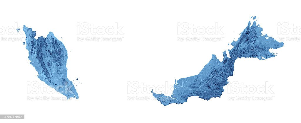 Malaysia Topographic Map Isolated stock photo