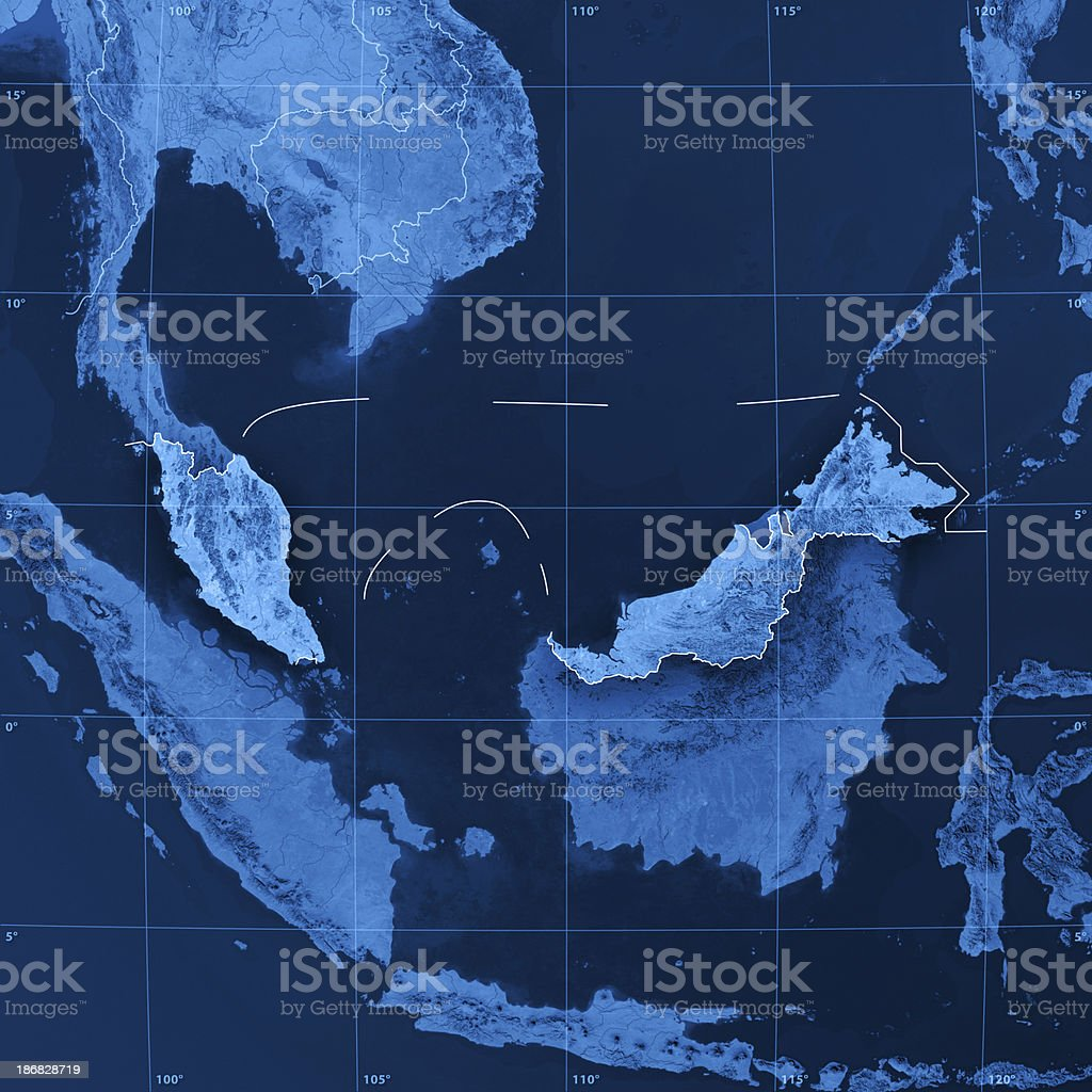 Malaysia Topographic Map royalty-free stock photo