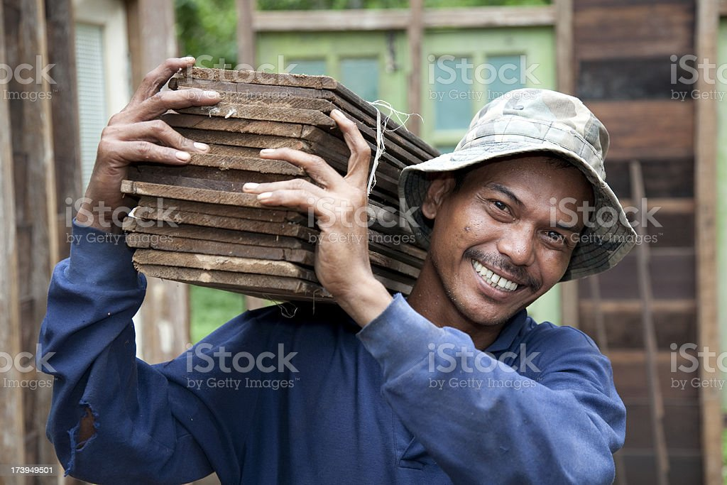 Malaysia, working with tools and building activity. stock photo