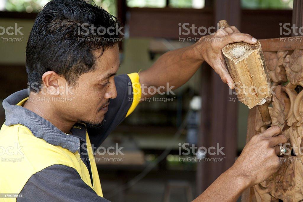 Malaysia, working with tools, Kota Bharu. stock photo