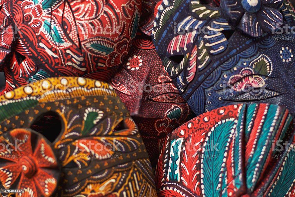 Malaysian Carving Masks stock photo