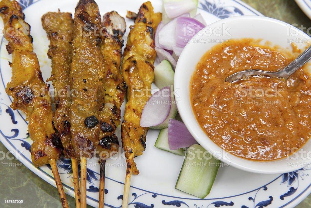 Malaysian Chicken Satay stock photo