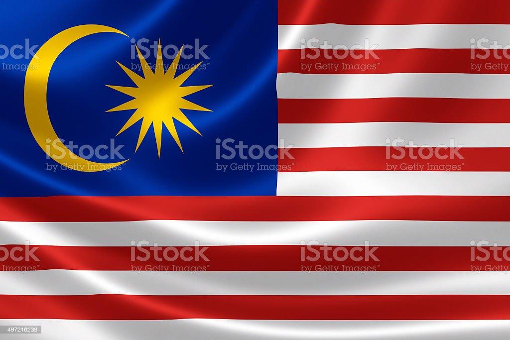 Malaysian Flag Close Up royalty-free stock photo