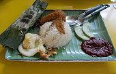 Malaysian food:  Nasi Lemak