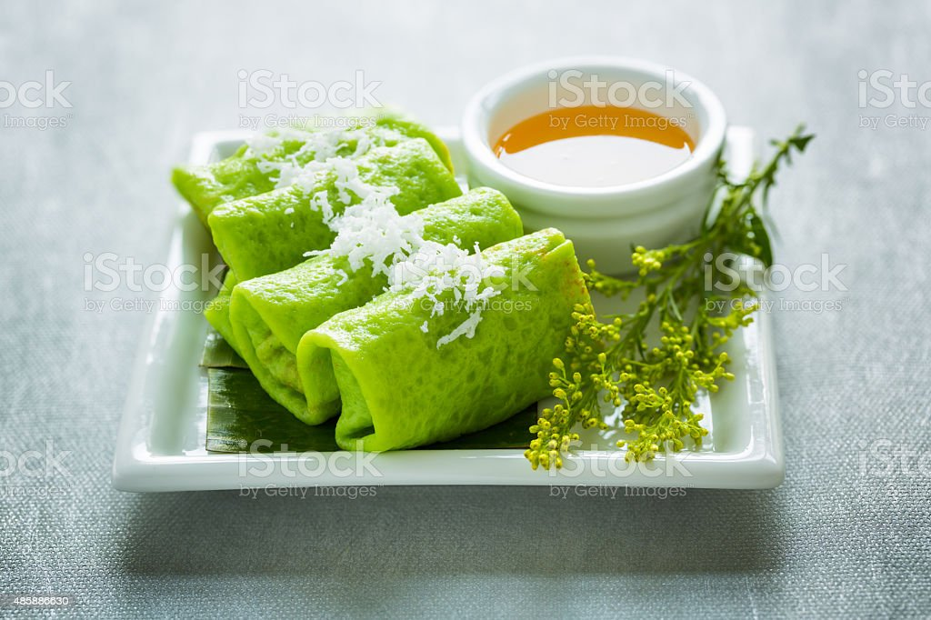 Malaysian Kuih Dadar stock photo